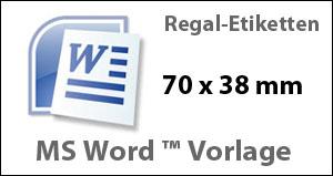 MS Word Vorlage für Regaletiketten 70x38mm