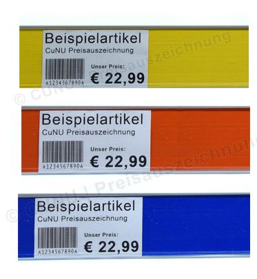 Etiketten für Scannerschienen, Regaletiketten, Scanneretiketten