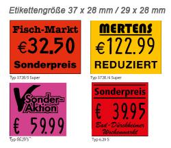 Etiketten für Handauszeichner der Größe 37x28mm 29x28mm