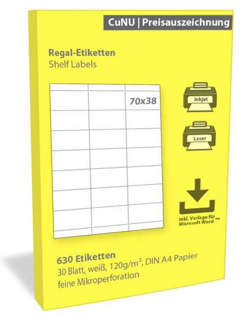 Regaletiketten (Shelf Labels), weiß, 120g/m², 70x38mm 30 Blatt, 630 Regal Etiketten