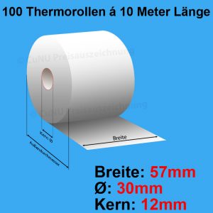 100 Thermorollen, Breite: 57mm, Durchmesser: 30mm, Rollenlänge: 10m, Kerndurchmesser: 12mm