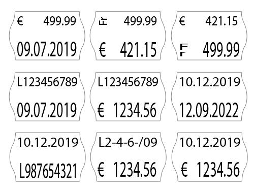 Standard Preisauszeichner für Preise, Datum, Artikelnummern