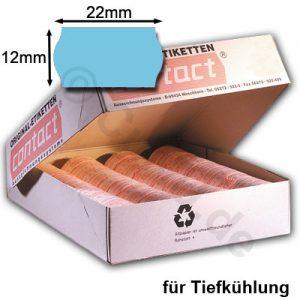 hellblaue Etiketten 22x12mm für Tiefkühlung