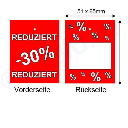 """Kartonetiketten Warenanhänger Motiv: """"REDUZIERT -30%"""" EAN4260474331567"""