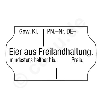 Etiketten für Eier aus Freilandhaltung.