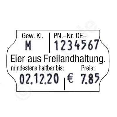 Bestempeltes Etikett für Eier aus Freilandhaltung.