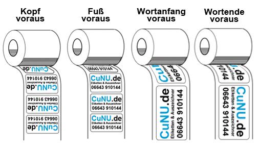 Ausrichtung der Etiketten auf Rolle
