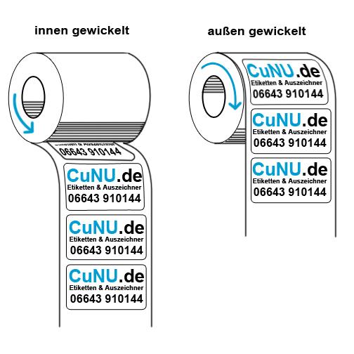 innen und außen gewickelte Etiketten auf Rolle