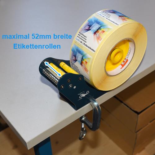 für bis zu 52mm breite Etikettenrollen
