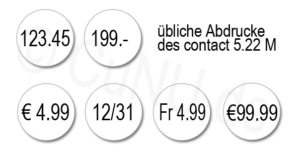 Standard Abdrucke mit dem contact handauszeichner 5.22 M