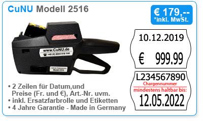 CuNU Modell 2516 - zweizeiliger Preisauszeichner für Datum, Preis und Nummern