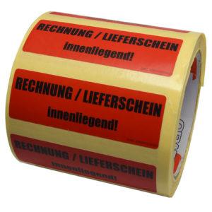 Hinweisetiketten RECHNUNG / LIEFERSCHEIN innenliegend!