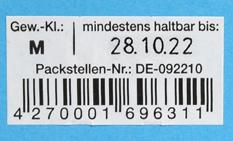 mit MHD bedrucktes EAN-Code Etikett