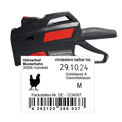 MHD Auszeichner und Spender für Eierschachteletiketten