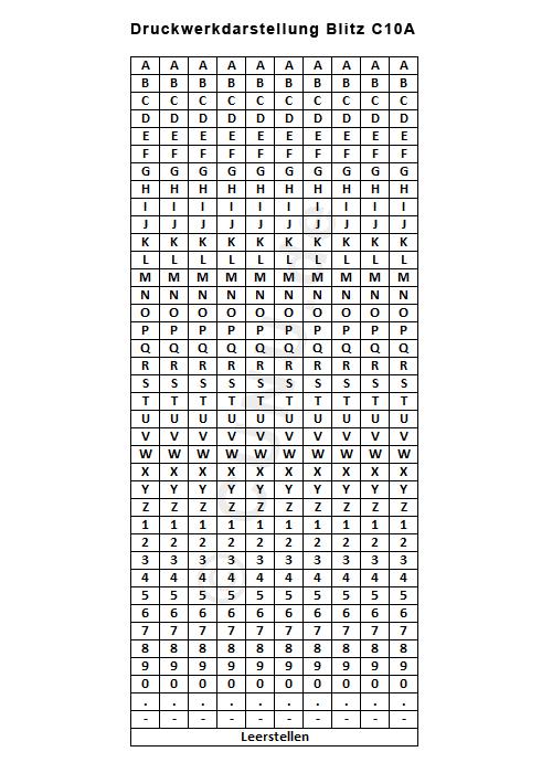Druckwerkdarstellung des Blitz C10A Handauszeichners