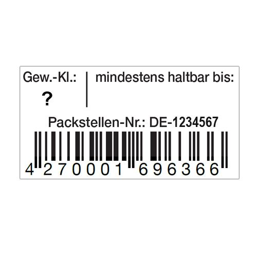 EAN-Code Etiketten für Eier -Schachteln mit Aufdruck der Gewichtsklasse, MHD und Packstelle