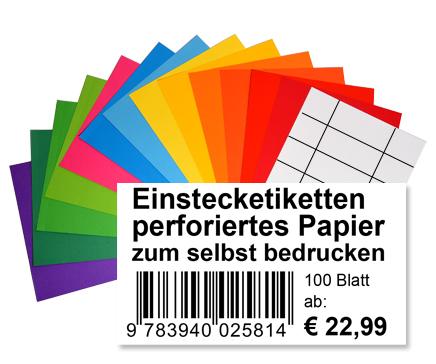 Nicht klebende Einsteck- Etiketten, perforiertes Papier