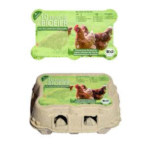 Eierschachtel Aufkleber für CDL-Omnipac TopCom 6er - Motiv Bio-Eier, Ökologische Erzeugung