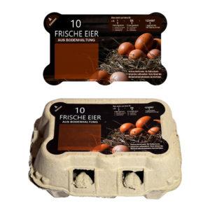 Eier-Schachtel Aufkleber für CDL-Omnipac Modell TopCom 6er - Motiv Bodenhaltung