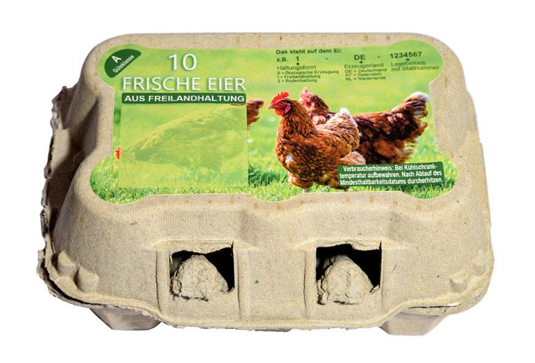 Freiform Eierschachteletikett Freilandhaltung