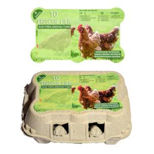Motiv Freiland - Freiform Etikett für 6er Eierschachtel TopCom