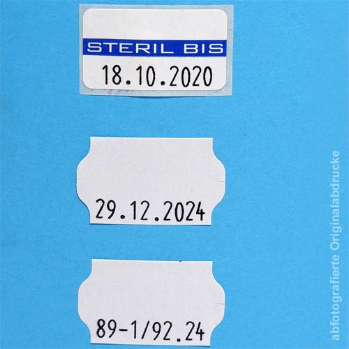 mit Datum bestempelte Sterilisierungsetiketten