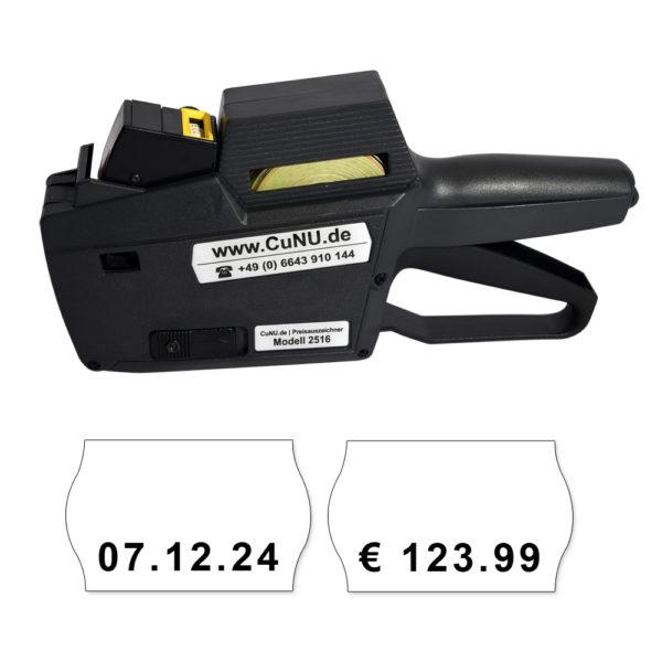 Umgebauter Auszeichner C2516 - eine Zeile mit 8 kleinen Zeichen unten auf 25x16mm Etiketten