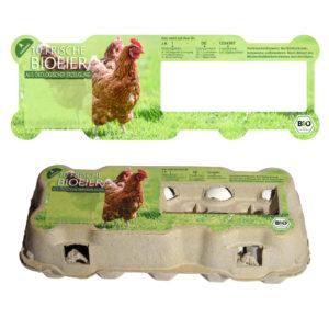 Eier Schachtel Etiketten für Omni-PAC TopView 10er - Motiv Bio-Eier, Ökologische Erzeugung