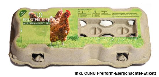 mit Freiform Etikett beklebte Eierschachtel