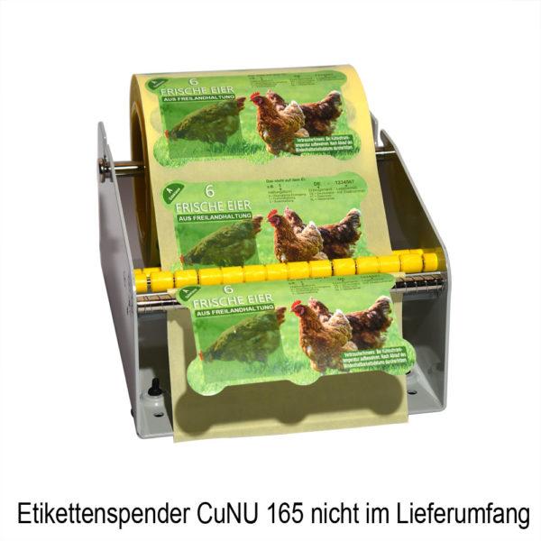 Spender CuNU 165 mit Eierschachteletiketten
