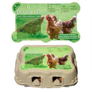 Freiform Etikett für 6er Eierschachtel TopCom