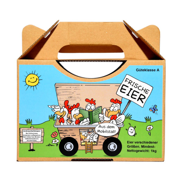 Etiketten für 1kg Eierbox - Motiv Mobilstall