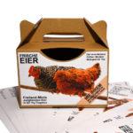 Etiketten Tragebox für Eier