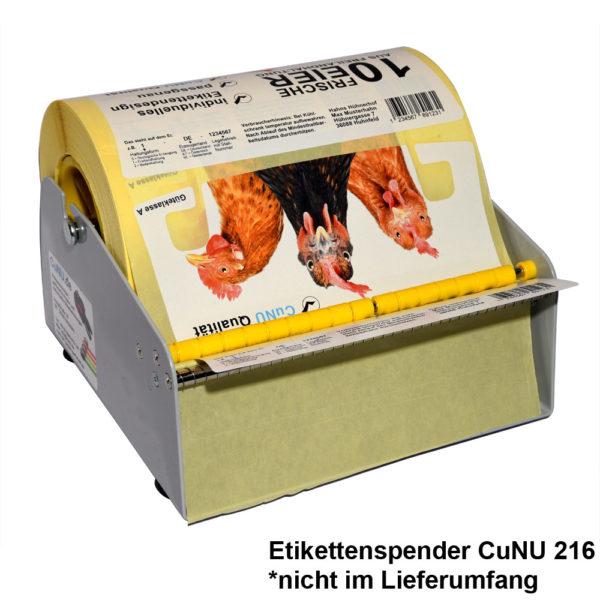 Etiketten für Huhtamaki auf Spender Cunu 216