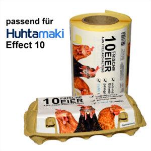 Eierkartonetiketten auf Rolle für Eierschachtel Modell Huhtamaki Effect Plus 10