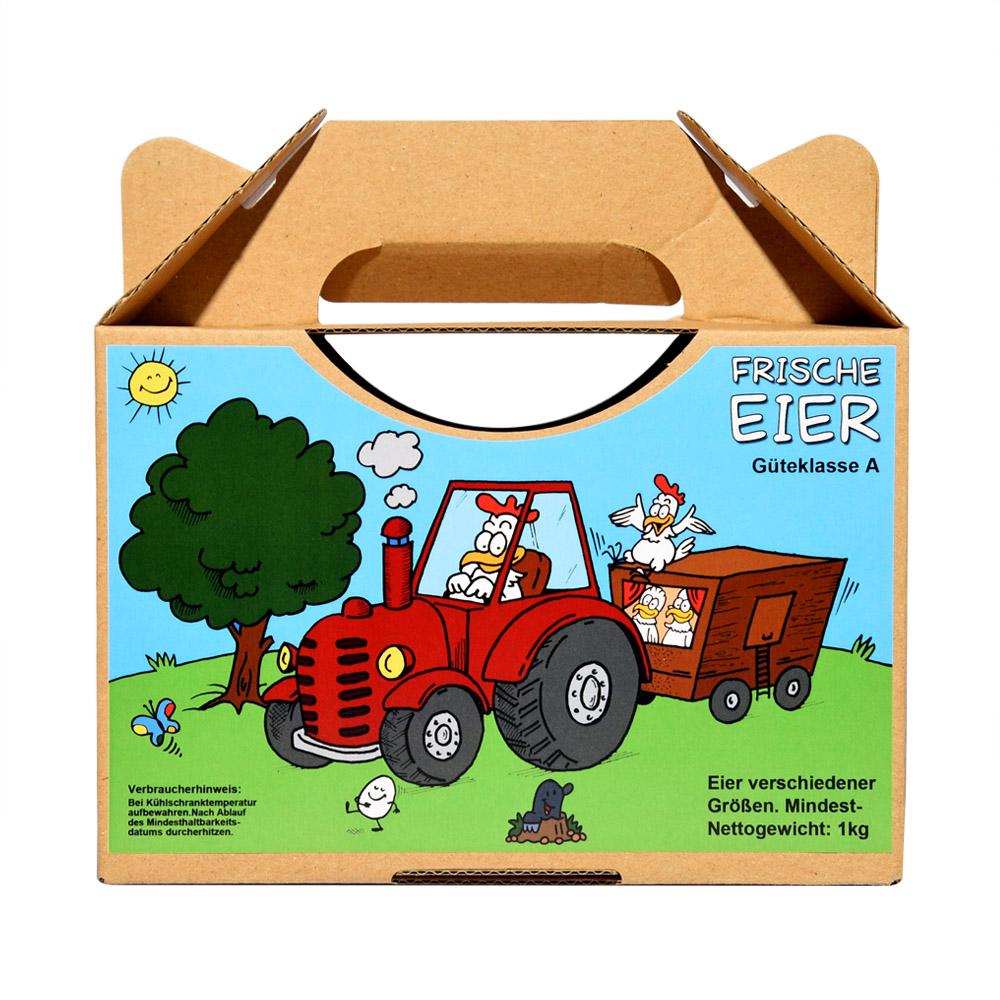 Aufkleber für 1kg Eierbox - Motiv Traktor zieht Mobilstall