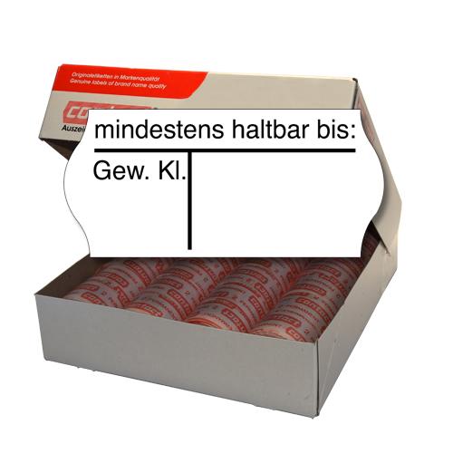 Etiketten für Gewichtsklasse und MHD