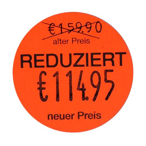 REDUZIERT Etiketten alter Preis neuer Preis