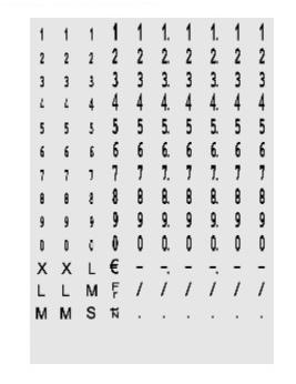 Druckwerkdarstellung des Auszeichners für Gewichtsklasse und MHD