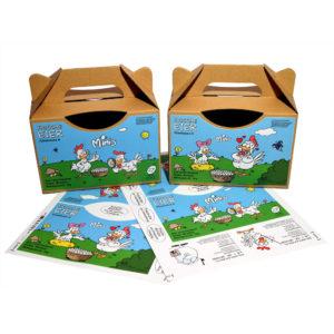 Cartoon Etiketten für 1kg Eier Tragebox - alle Haltungsformen - Motiv: Minis