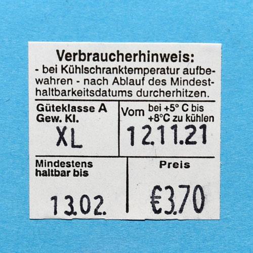 Originalabdruck (abfotografiert) des Blitz Eieretikettenauszeichners