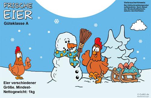 Cartoon Etiketten Weihnachten Winter für 1kg Eier Tragebox