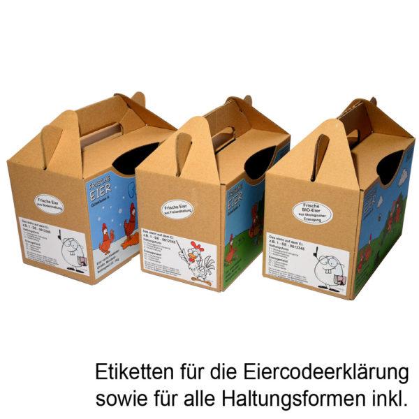 Etiketten für Haltungsform und Eiercodeerklärung