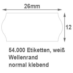 26x12 mm Wellenrand Etiketten normal klebend
