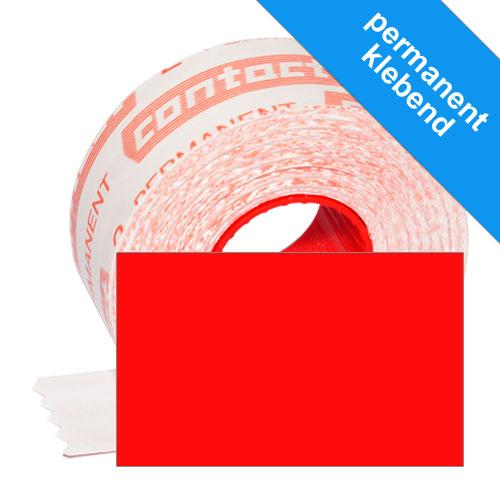 1100 leuchtrote, rechteckige 26x16mm Preisetiketten, permanent klebend
