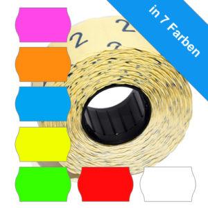 26x16mm Wellenrandetiketten in 7 unterschiedlichen Farben, permanent klebend
