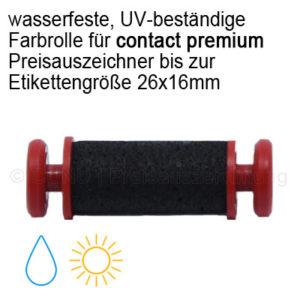 Farbrolle wasserfest, mit UV Schutz Tinte, für contact premium Etikettierer bis zu 26x16mm Etikettengröße
