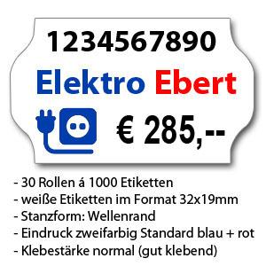 Preisbeispiel, zweifarbig bedruckte weiße Etiketten in Standard-Klebestärke
