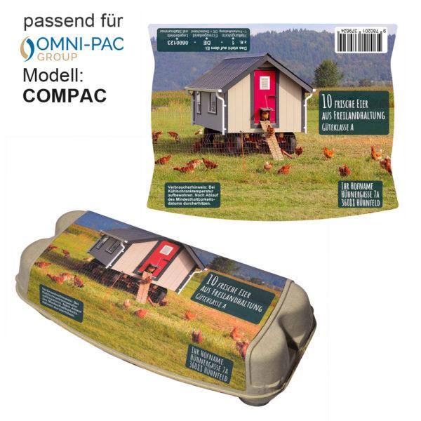 Etikett für 10er Eierschachtel COMPAC von Omni-pac group