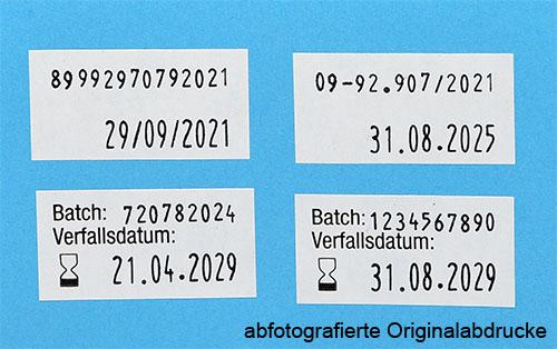 Etiketten für Batchnummer und Verfallsdatum